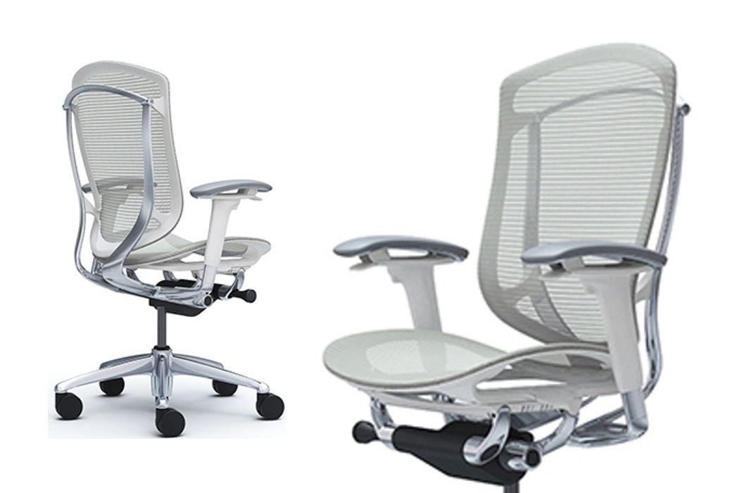 OKAMURA CONTESSA SECONDA White shell Light grey Mesh Chair