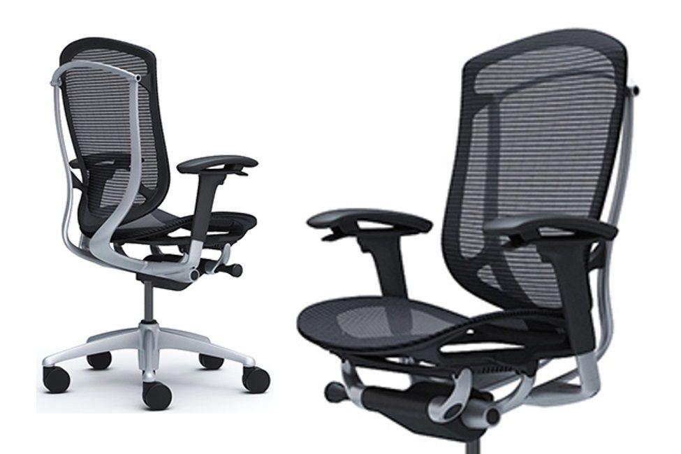 OKAMURA CONTESSA SECONDA Silver frame Black mesh Chair