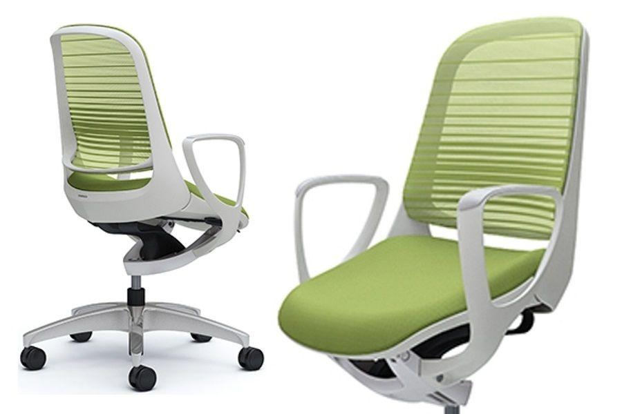 OKAMURA LUCE White body Lime Green Gradated Mesh Chair