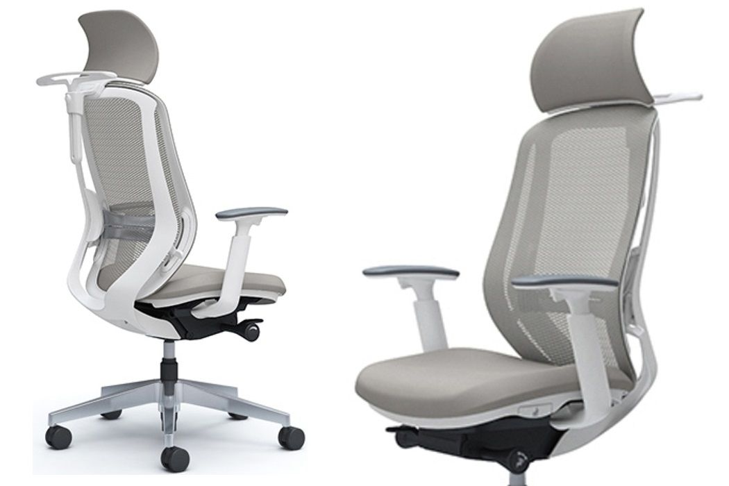 OKAMURA SYLPHY Stylish White body Light Grey colour Chair with Headrest, Lumbar support and Coat hanger
