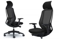 OKAMURA SYLPHY Black mesh Black base Chair with Headrest