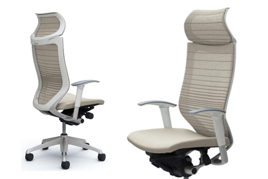 Okamura CP White Gradated Mesh Office Chairs