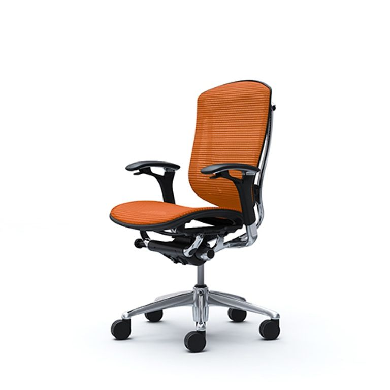 Židle OKAMURA CONTESSA Leštěná Sedák Pomerančová Látka
