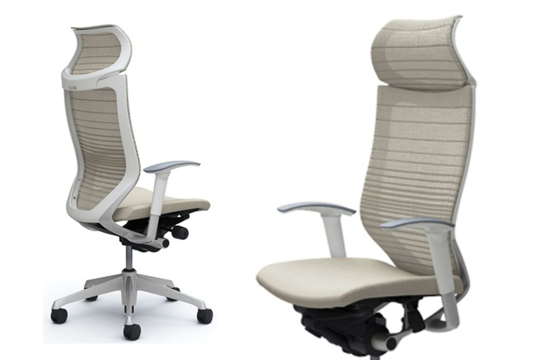 Okamura CP White Gradated Mesh Office Chairs