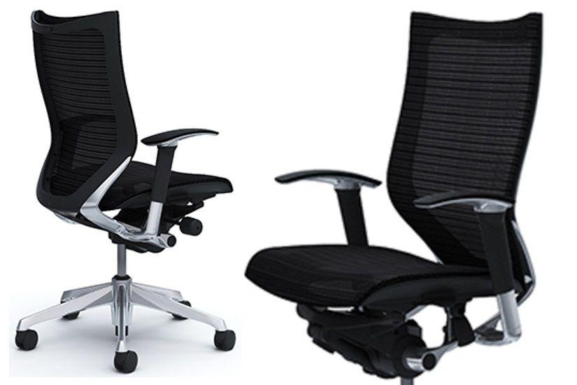 Židle OKAMURA CP Leštěný rám Sedák černá Síťovina