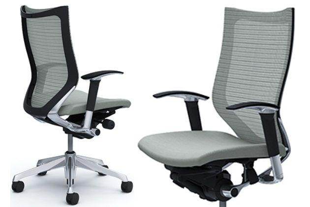 OKAMURA CP Polished frame Light Grey Cushion Seat Chair